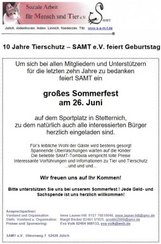 Handzettel mit Detais zum Jubiläumsfest