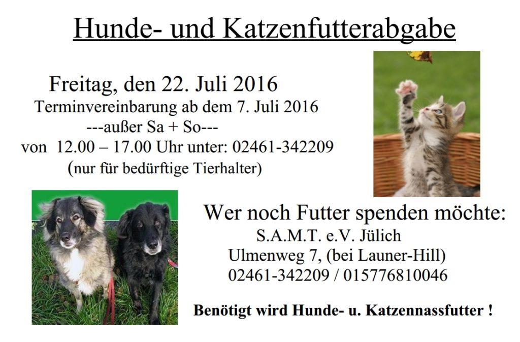 Ankündigung der Tierfutterabage (Info unter www.s-a-m-t.de).