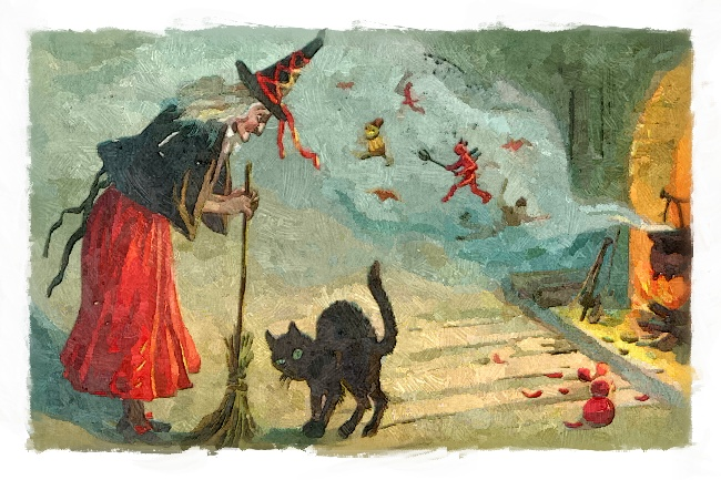 Hexe mit Besen und schwarzer Katze