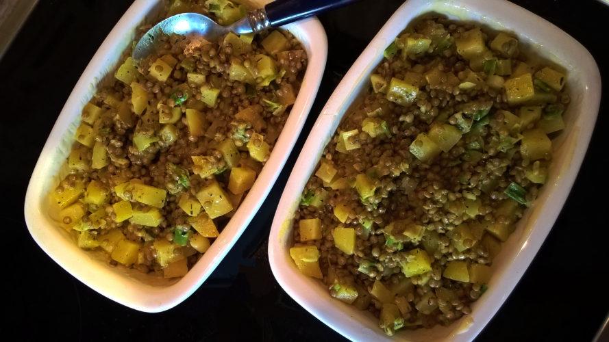 Kartoffel-Linsen-Gratin